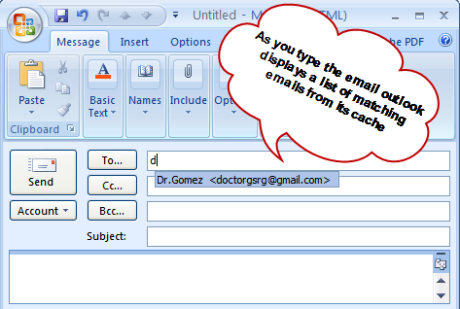 Example of Outlook Auto Complete